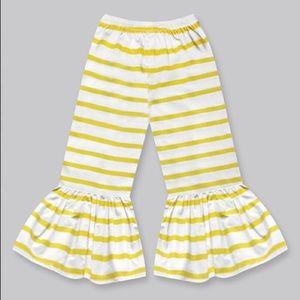 Girls Mustard Stripe Boho Ruffle Pants